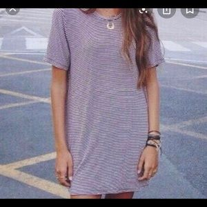 maroon and white striped t-shirt dress
